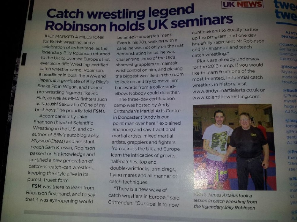 UK Martial Arts Magazine Mentions Sam Kressin in Coverage of Billy Robinson's Catch Wrestling Seminar